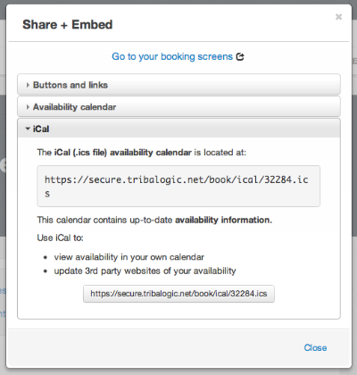 iCal sharing the Admin Console
