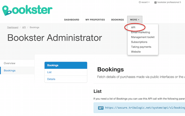 Viewing API documentation in Bookster