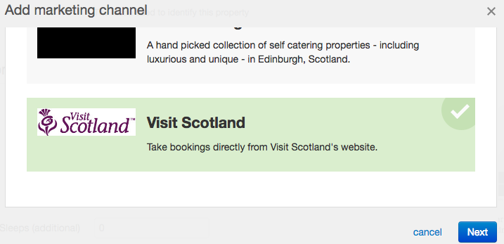 Select Visit Scotland within Bookster