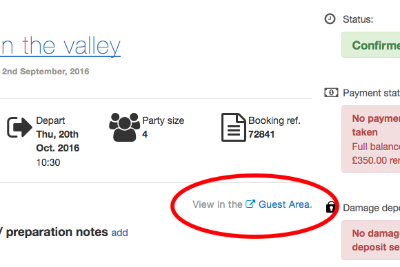 Jump to the Guest area from a booking