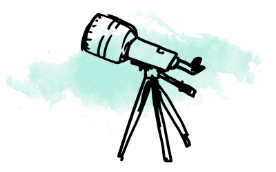 Illustrated image of a telescope